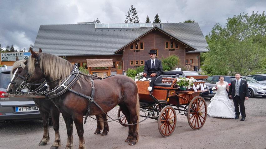 zur Hochzeitsfeier mit der Kutsche